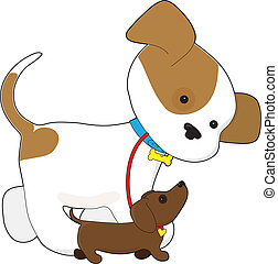 A cute puppy is taking a little dachshund puppy for a walk
