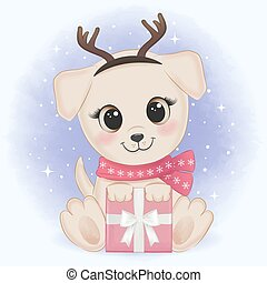 Cute puppy with gift box, Christmas illustration.