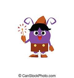 Cute purple cartoon monster in brown pilgrim costume holding a sparkler