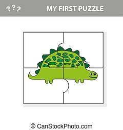 Cute puzzle game. Vector illustration of puzzle game with happy cartoon dino
