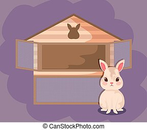 cute rabbit baby animal with house