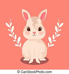 cute rabbit baby animal with leafs