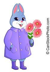 Cute rabbit with a bouquet of gerberas.