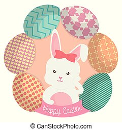 cute rabbit with easter eggs painted
