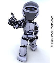 3D render of a robot introducing or presenting