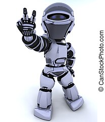 3D render of a robot presenting peace sign