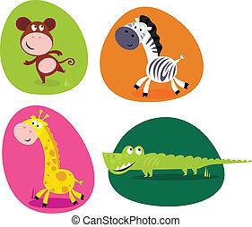 Vector Illustration of four cute wild animals buttons - monkey, zebra, giraffe and crocodile.