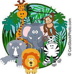 Illustration of a cute safari group of animals