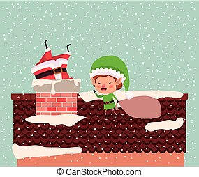 cute santa claus and helper with chimney