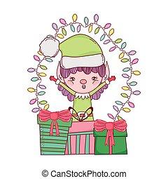cute santa helper with gifts