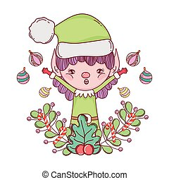 cute santa helper with wreath