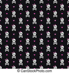 Cute seamless pattern with skulls, bows and hearts.