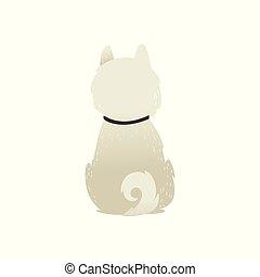 Cute sitting backwards white fluffy dog isolated on white background.