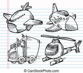 Cute Sketch Doodle Transportation