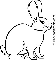 Cute, small, fluffy rabbit. Easter bunny. The pet is a decorative rabbit. Bunny. Rabbit. Linear drawing of a bunny. Template for coloring. Outline. hand drawing