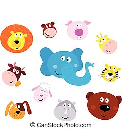 Vector illustration set of cute animals faces. Animal heads on white background. Lion, Monkey, Pig, Giraffe, Cow, Elephant, Tiger, Sheep, Dog, Hippo and Bear.