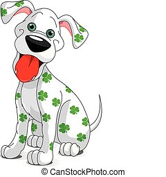 Illustration of a cute St. Patrick's Day funny smiling dog