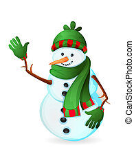 Cute snowman isolated on white