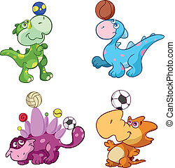 cute sport baby dinos playing with