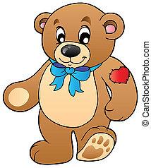 Cute standing teddy bear - vector illustration.