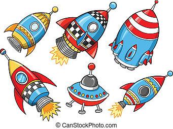 Cute Super Rocket Vector Illustration Set