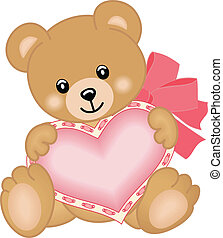Scalable vectorial image representing a cute teddy bear with heart, isolated on white.