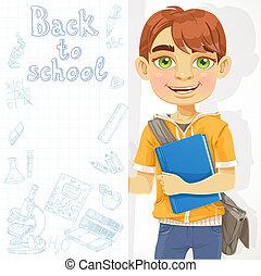 Cute teenage boy holding a banner