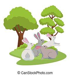 Cute three rabbits animals cartoons