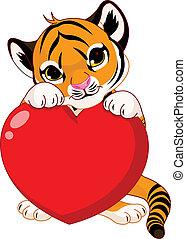 Valentine%u2019s day Illustration of cute tiger cub holding heart