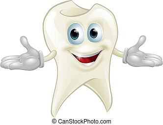 Illustration of a cute happy tooth mascot dental cartoon character