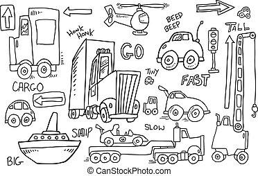 Cute Transportation Doodle Vector