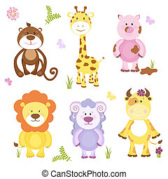 Cute vector cartoon animal set