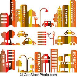 Cute vector illustration of an evening city street
