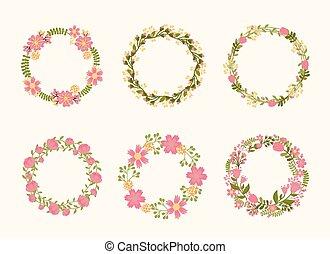 Cute vector wreath frames for wedding invitations