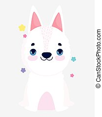 cute white dog domestic cartoon animal, pets