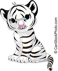 A cute character of sitting white tiger cub.