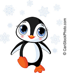 Illustration of cute winter penguin in Antarctica