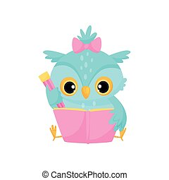 Cute wise owl reading a book, school education and knowledge vector Illustration