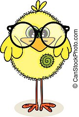 Cute yellow chick with glasses