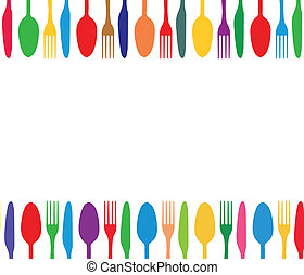 Cutlery color background, menu with cutlery vector illustration.