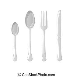 Cutlery flat style spoon knife, fork