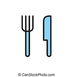 Cutlery, fork and knife flat color line icon.