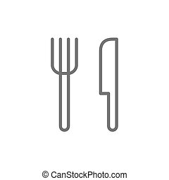 Cutlery, fork and knife line icon.