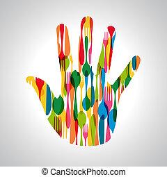 Cutlery hand shape illustration