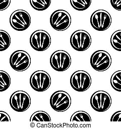 Cutlery Icon Seamless Pattern, Fork, Spoon And Knife