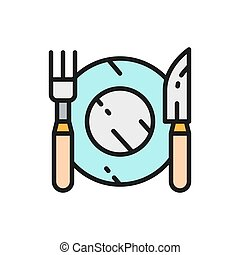 Cutlery, plate with fork and knife flat color line icon.