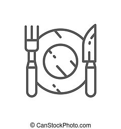 Cutlery, plate with fork and knife line icon.