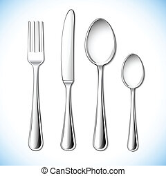 illustration of cutlery set with fork, knife and spoon