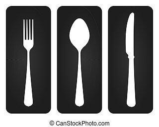 Basic set of tableware silhouettes on dark background