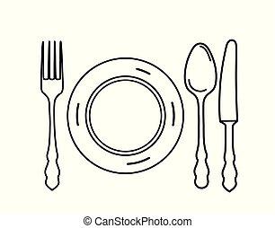 Cutlery set. Plate, fork, knife, spoon icon design elements. Line art eating symbol set.